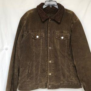 Men's Gap Corduroy brown faux fur lined coat Sz Lg